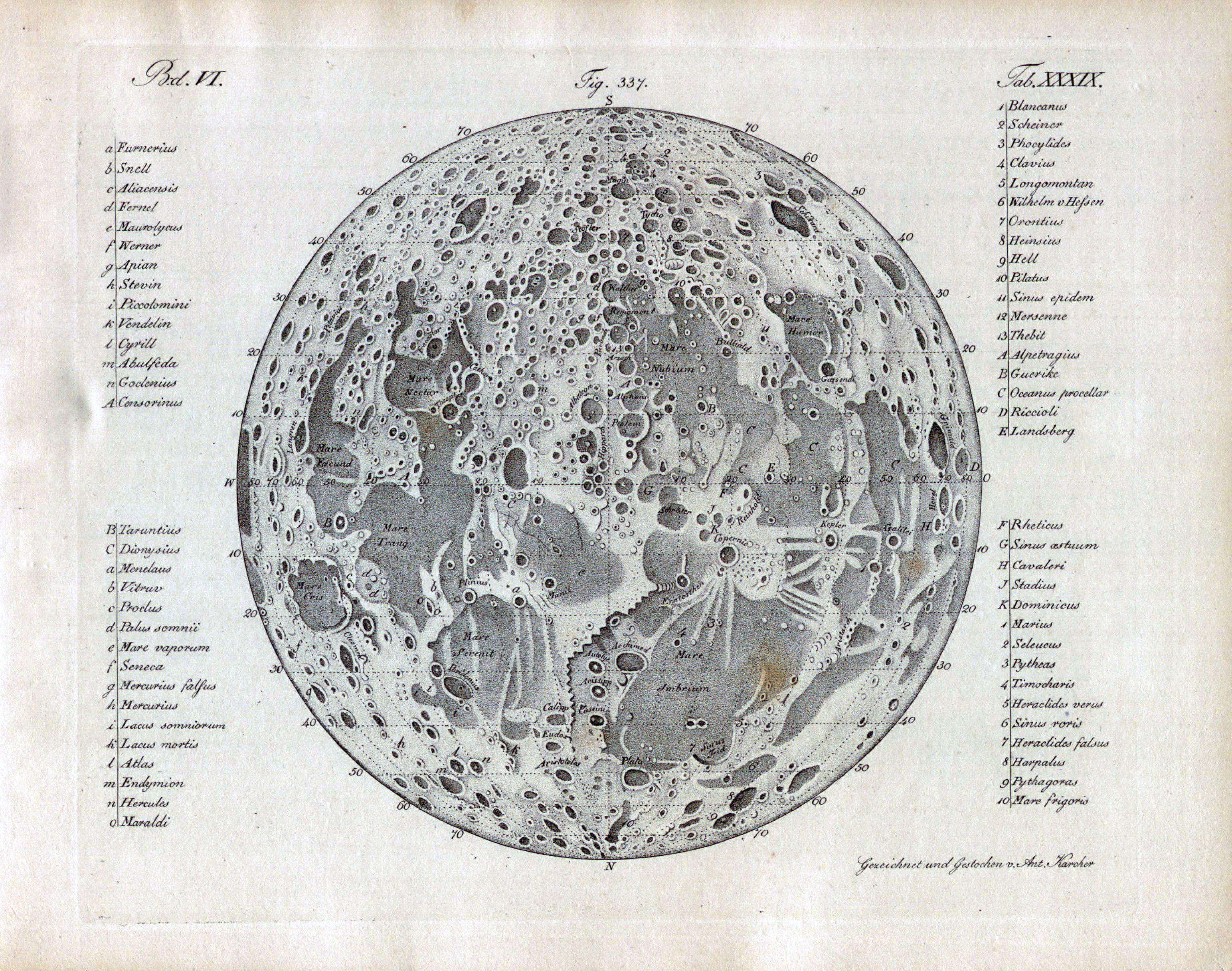 Large detailed old map of the Moon - 1842 | Moon | Space ...