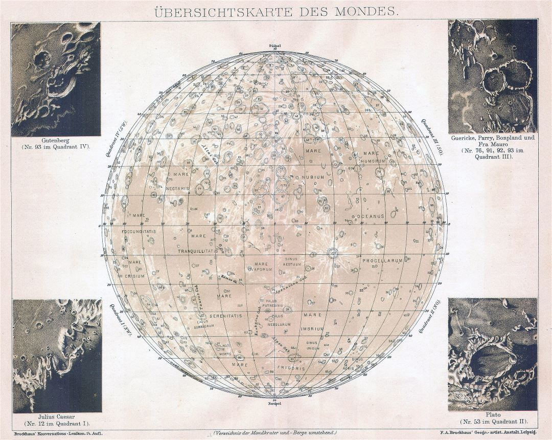 Large detailed old map of the Moon - 1898