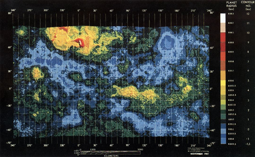 Large detailed topographic map of Venus - 1981