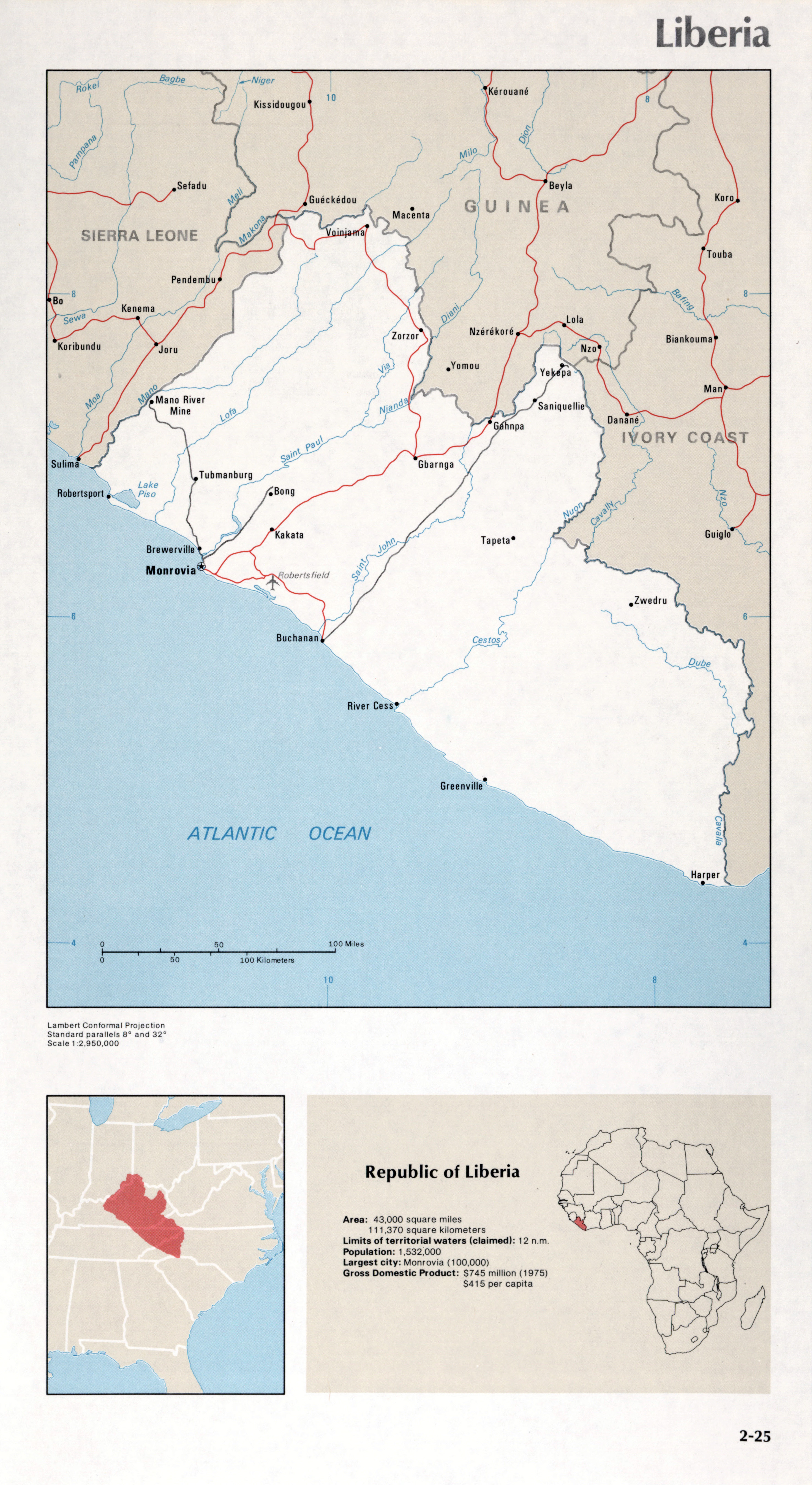 Map Of Liberia 2 25 Africa Maps Of The World S Nations World Mapsland Maps Of The World