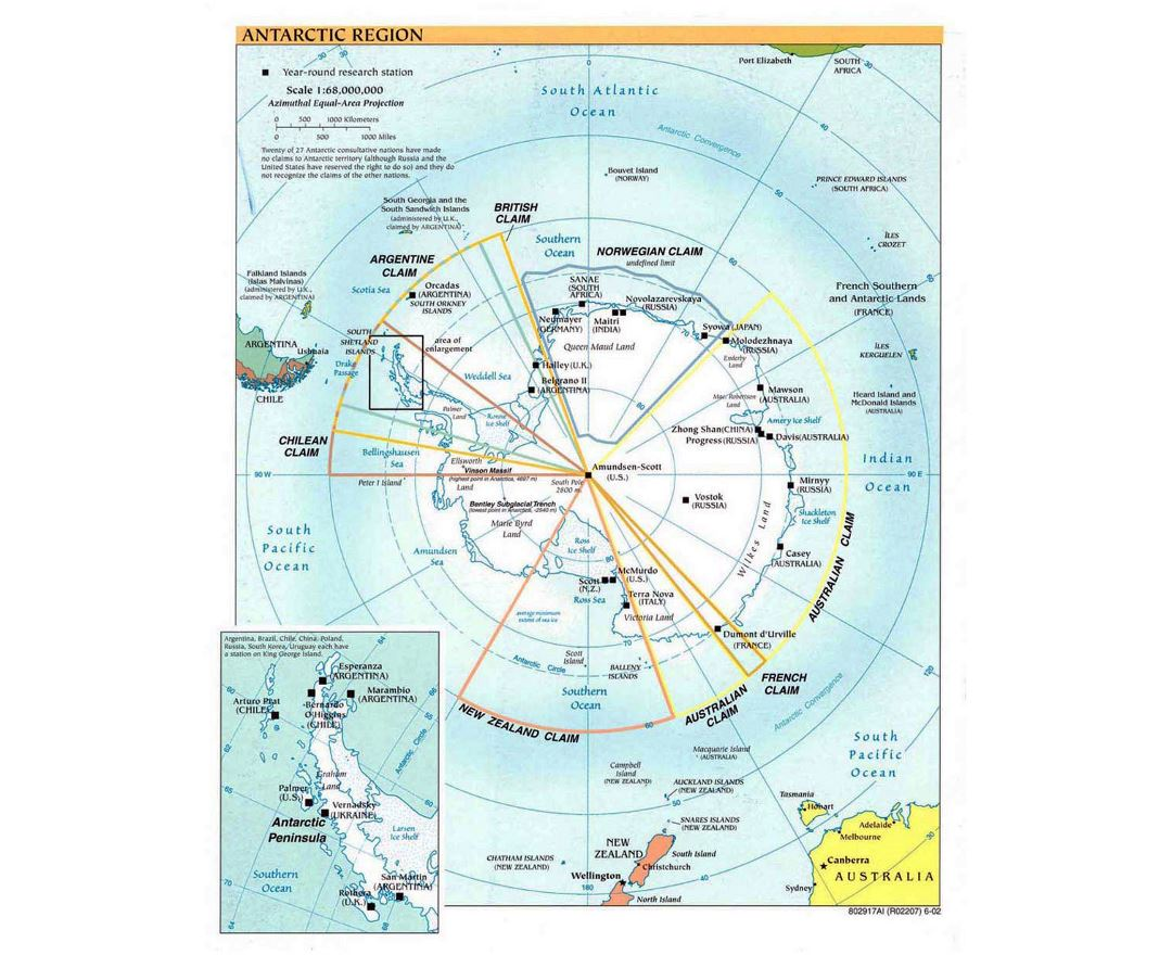 Detailed political map of Antarctic Region - 2002