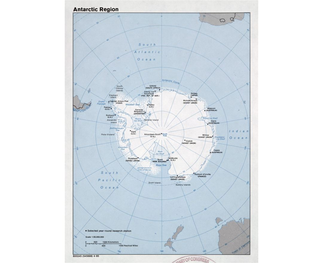 Large detailed map of Antarctic Region - 1985