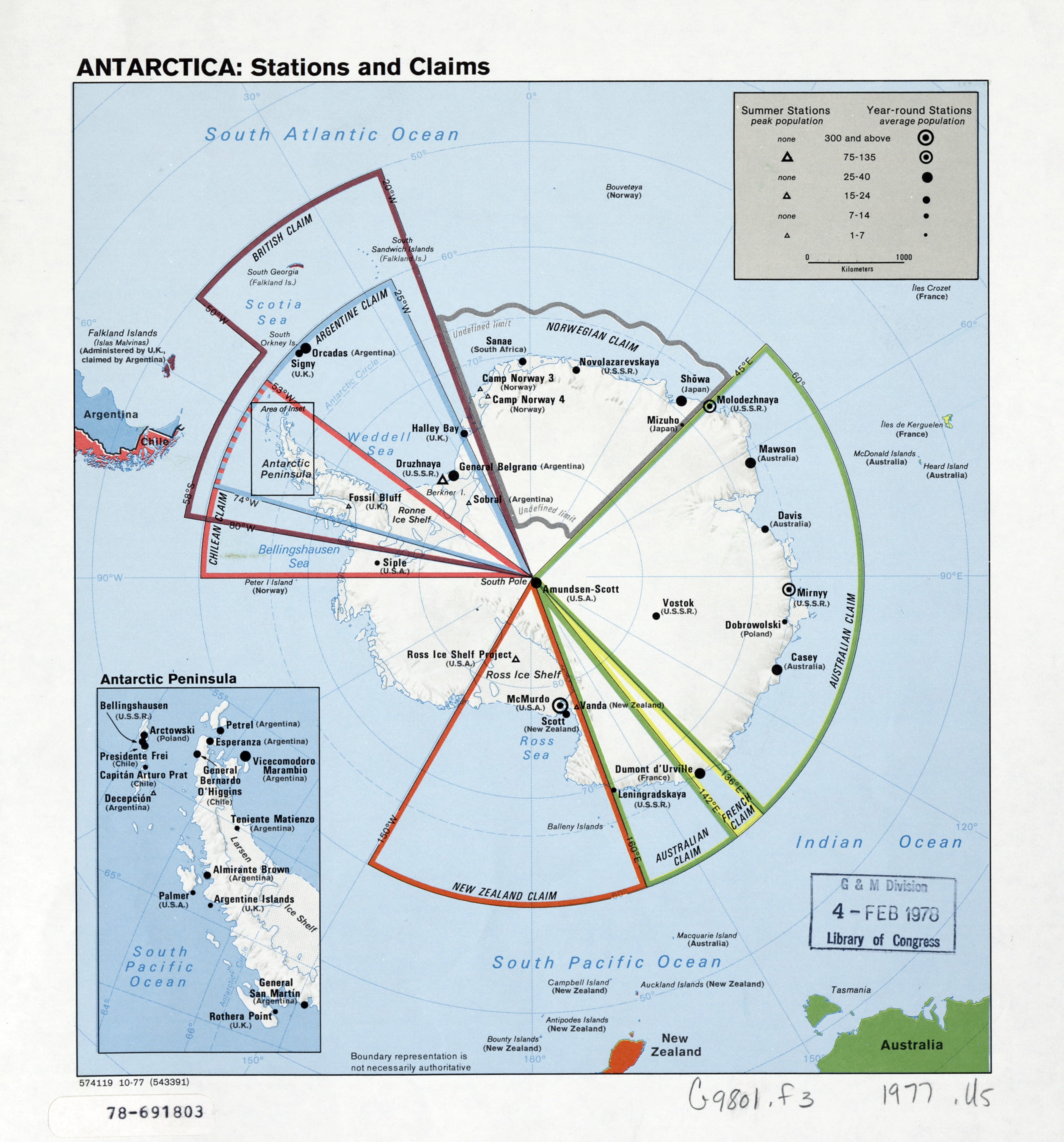 Large detailed map of the Antarctica stations and claims ...
