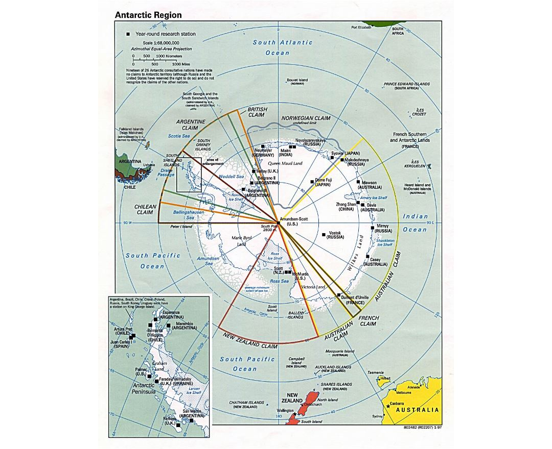 Large map of Antarctic Region - 1997