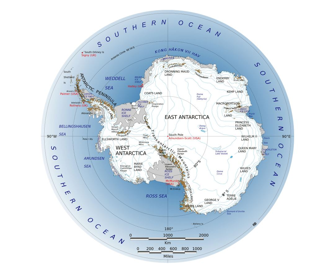 Large map of Antarctica