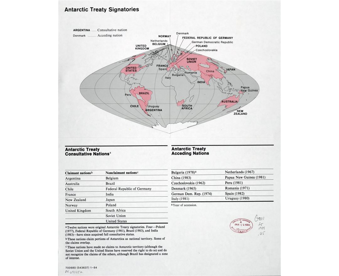 Large scale map of the Antarctic treaty signatories - 1984