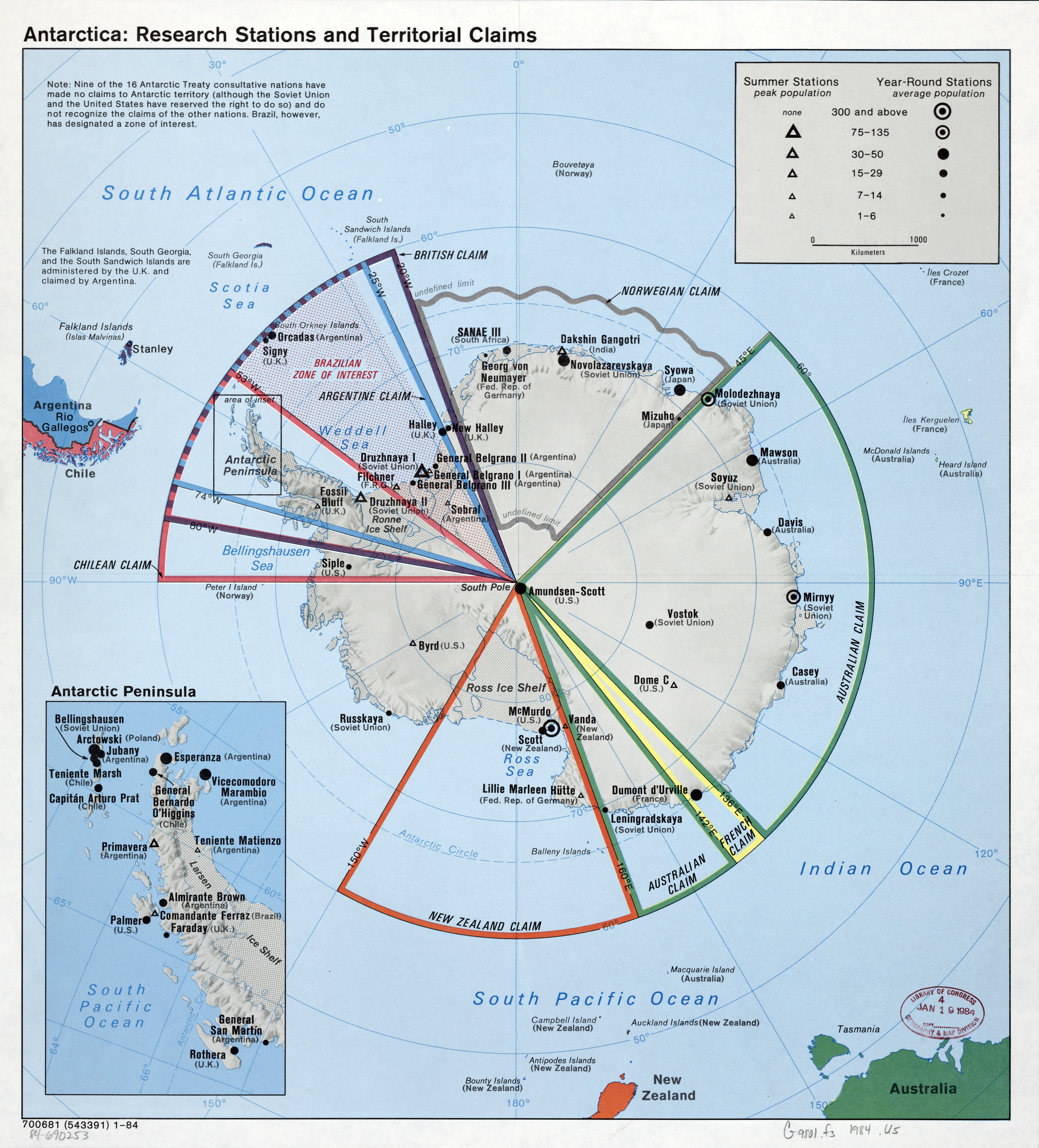 Large scale map of the Antarctica research stations and territorial