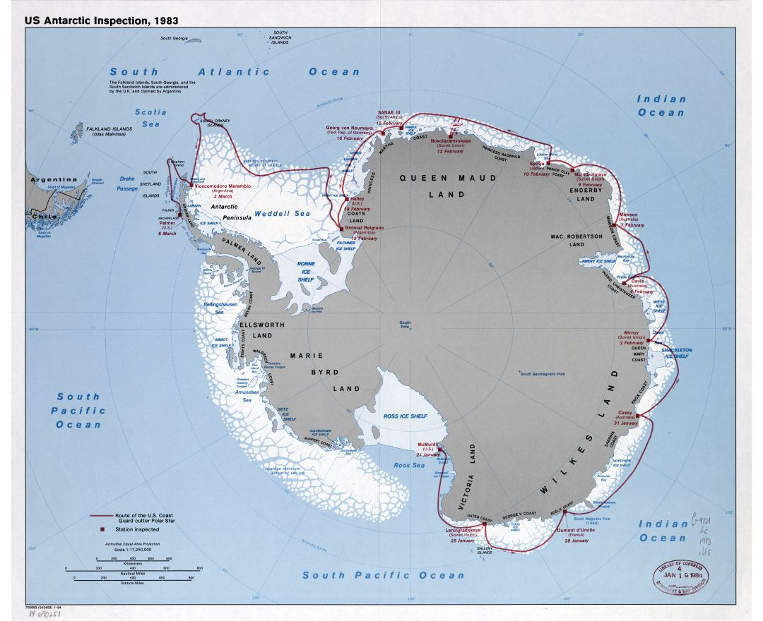 Large scale map of the U.S. Antarctic inspection - 1984