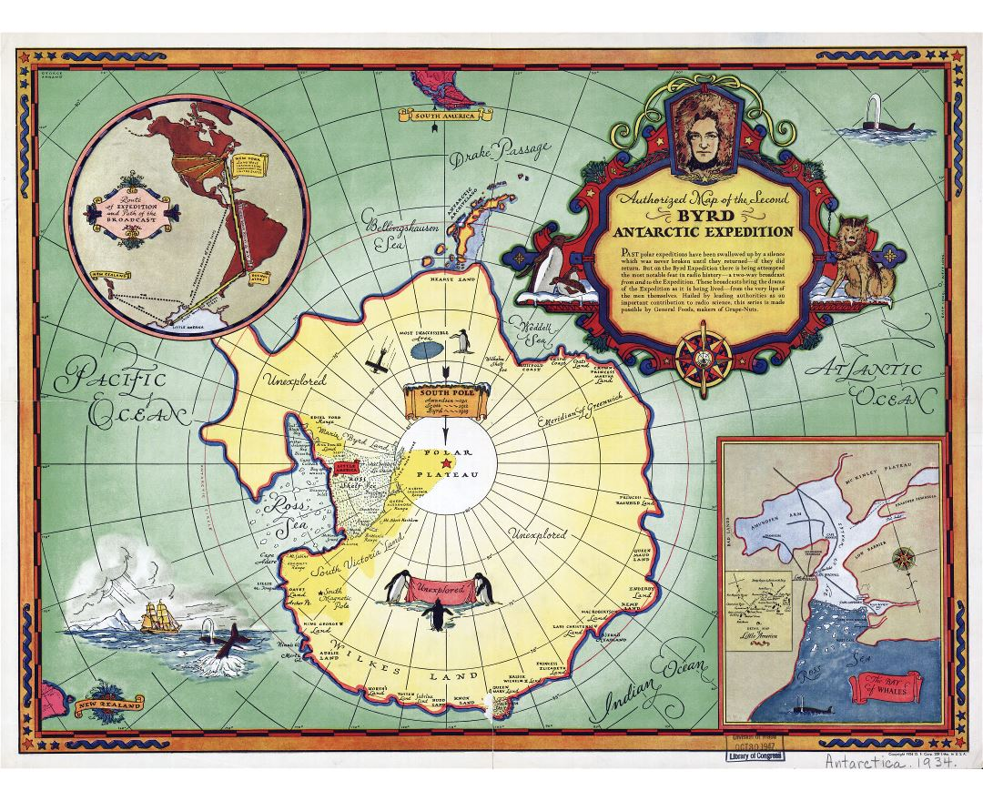Large scale old authorized map of the Second Byrd Antarctic Expedition - 1934