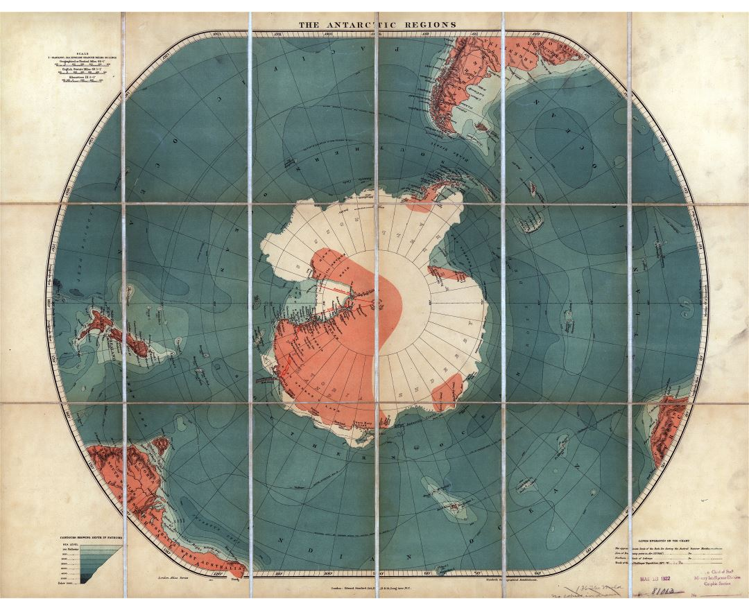 Large scale old map of the Antarctic regions - 19xx