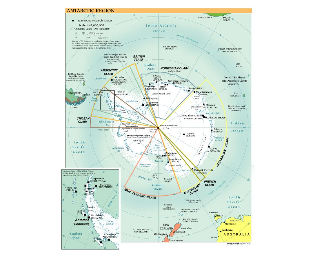 Large scale political map of Antarctic Region - 2001