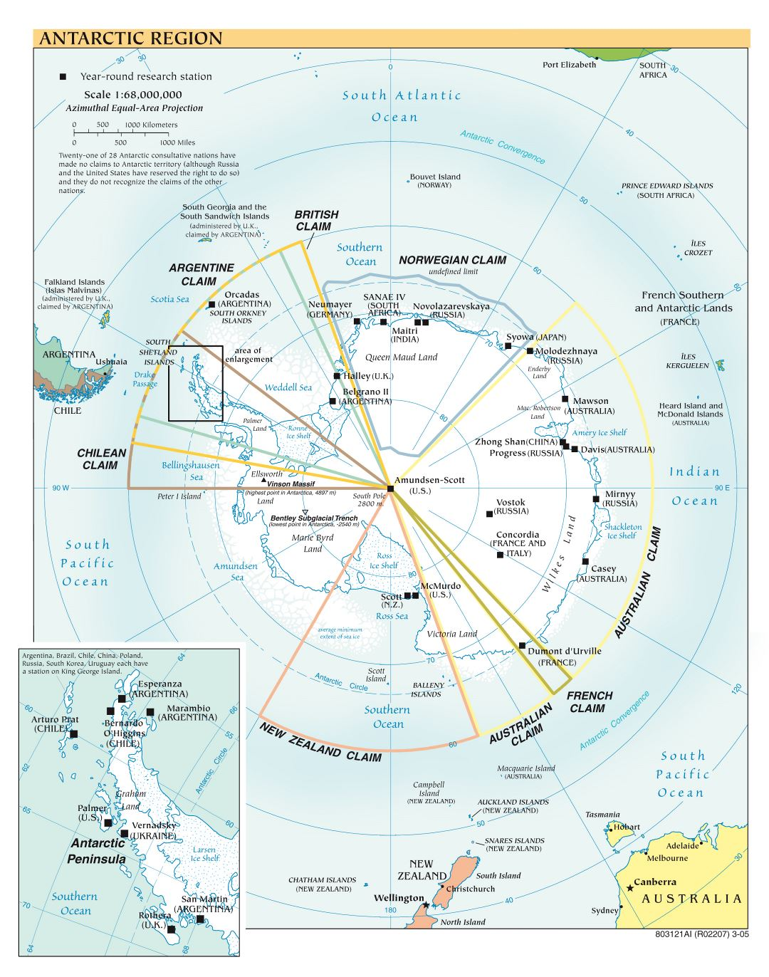 Large scale political map of Antarctic Region - 2005