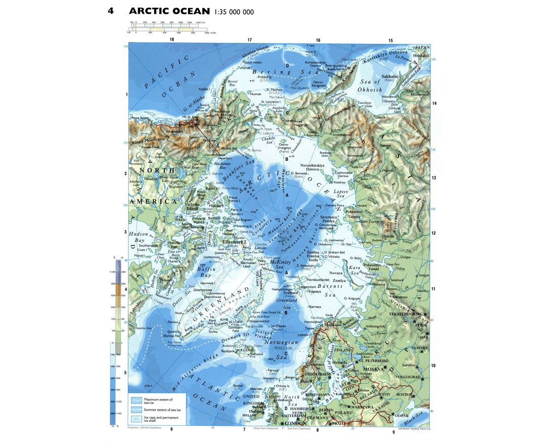 Detailed physical map of Arctic Ocean