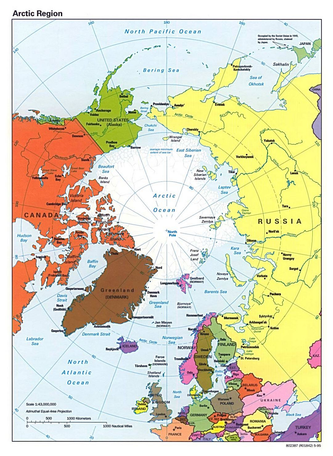 Detailed political map of Arctic Region - 1995