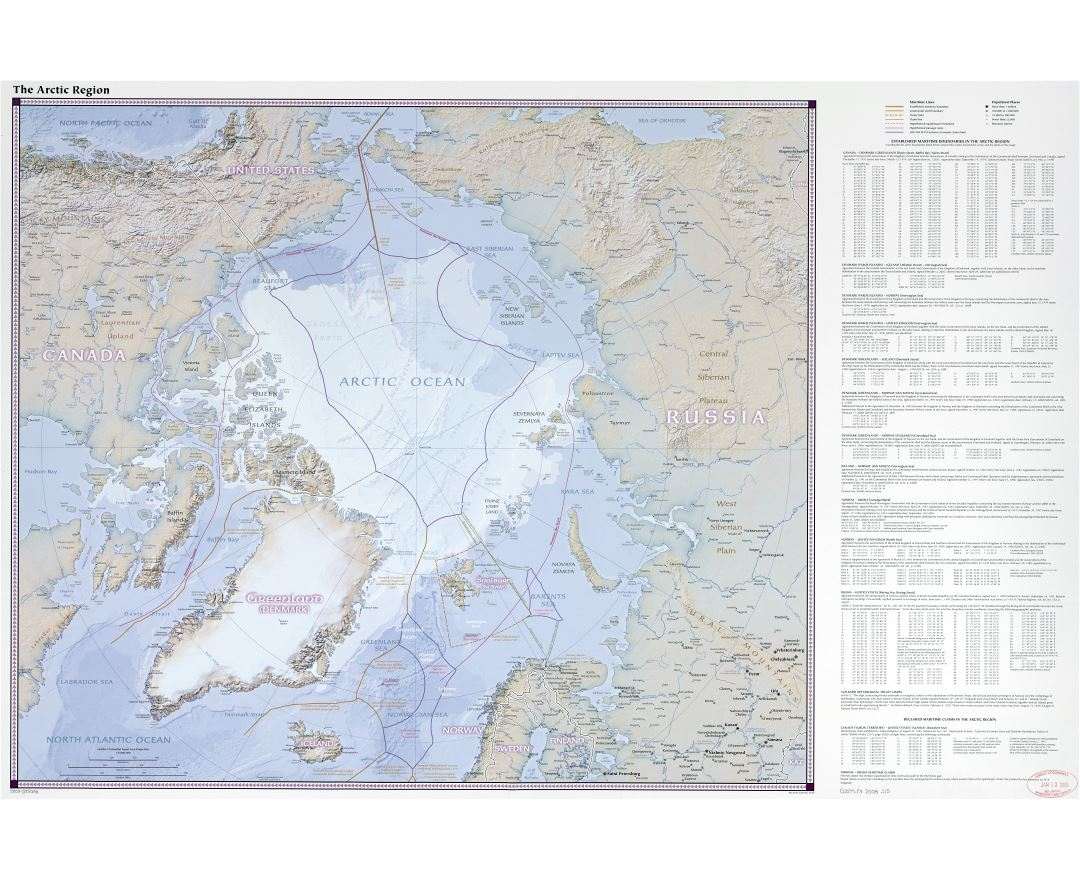 In high resolution detailed map of the Arctic Region with other marks - 2008