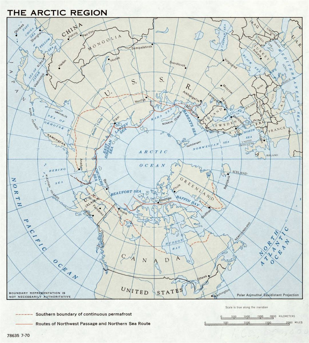 Large detailed map of Arctic Region - 1970