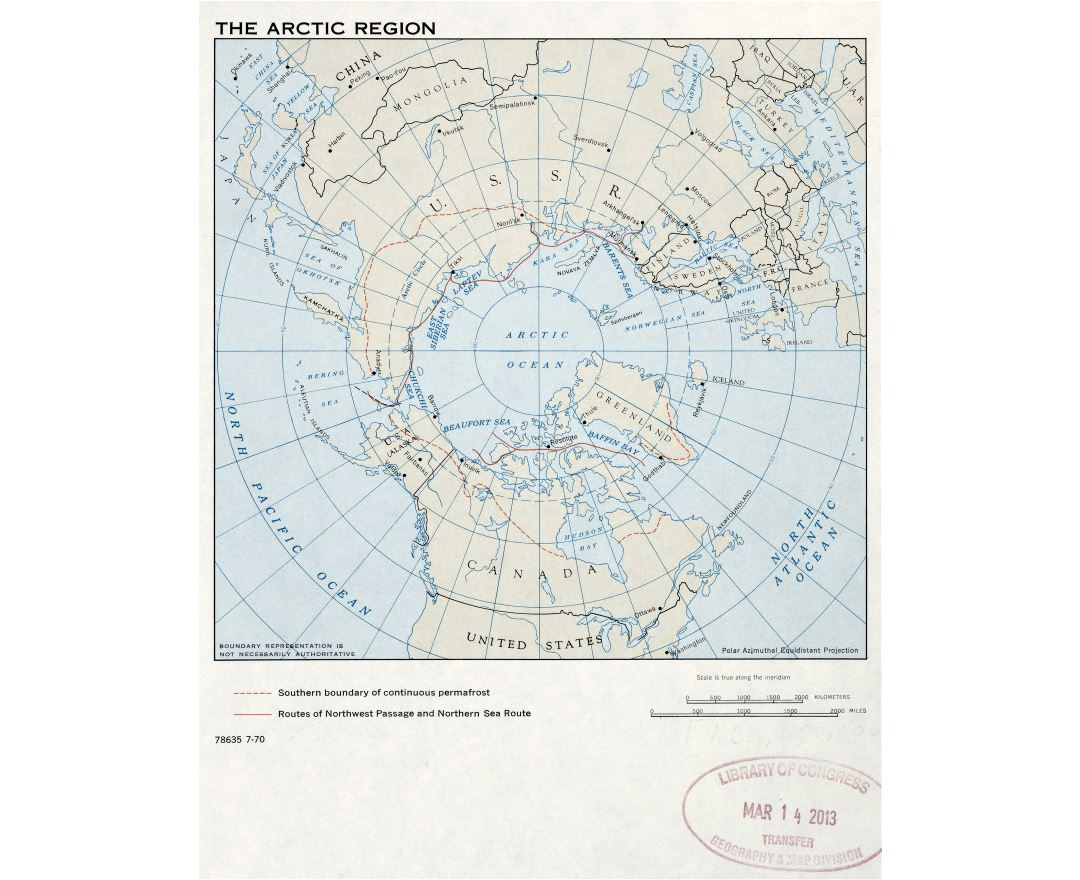 Large detailed map of the Arctic Region - 1970