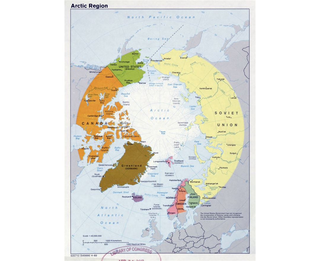 Large detailed political map of Arctic Region - 1983