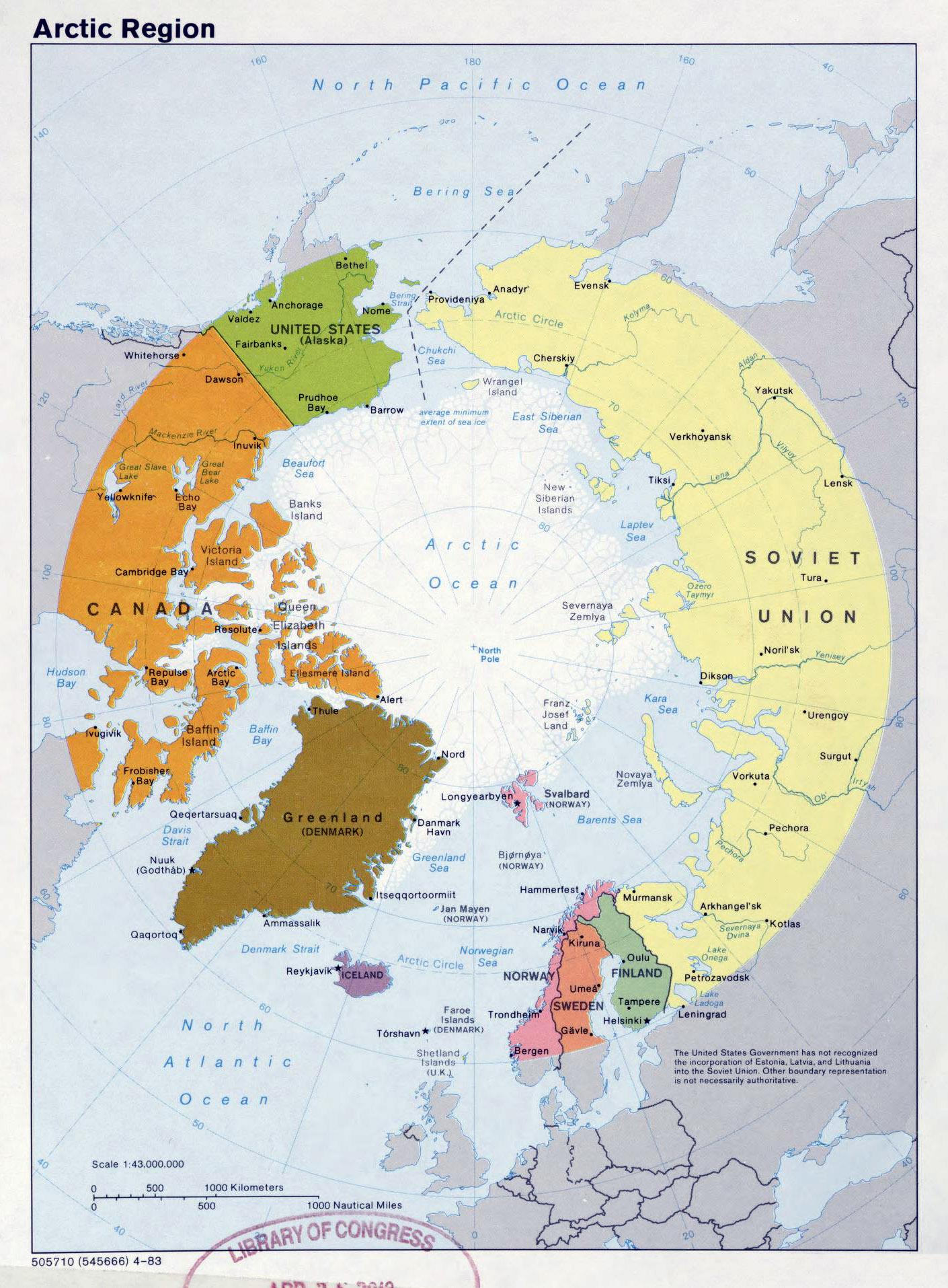Large detailed political map of Arctic Region 1983 Arctic Region