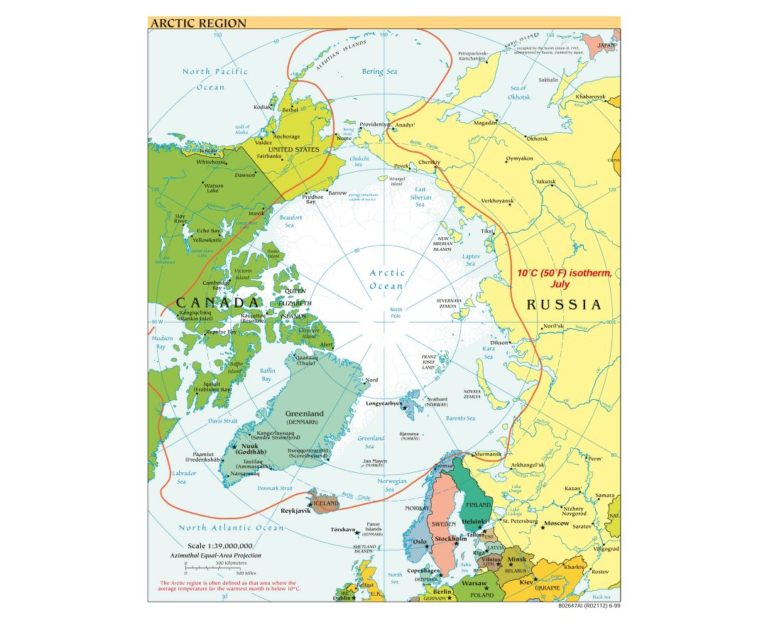 Large detailed political map of Arctic Region - 1999