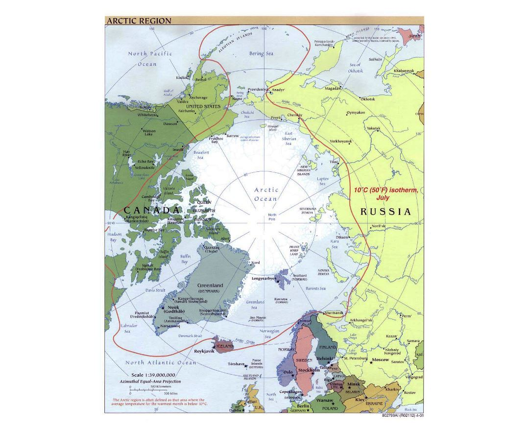 Large political map of Arctic Region - 2001