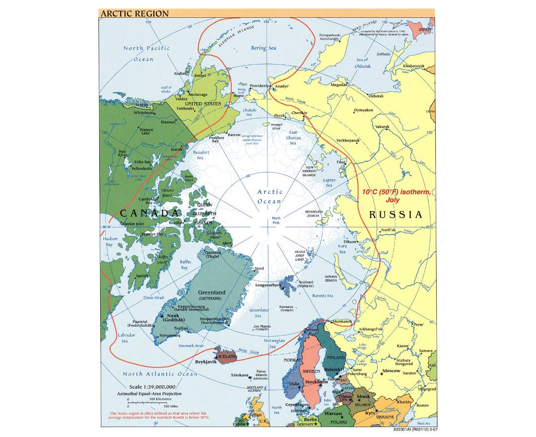 Large political map of Arctic Region - 2007