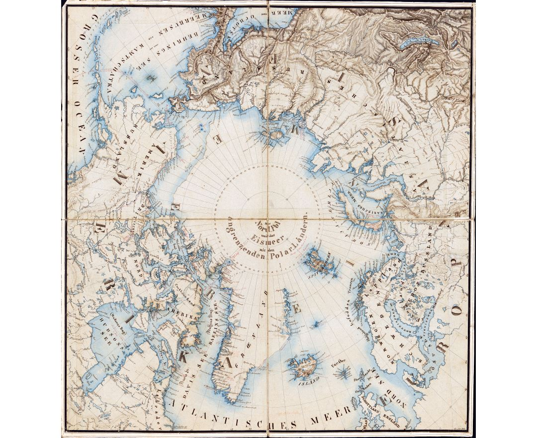 Large scale detailed old map of the Arctic and adjacent regions - 1855
