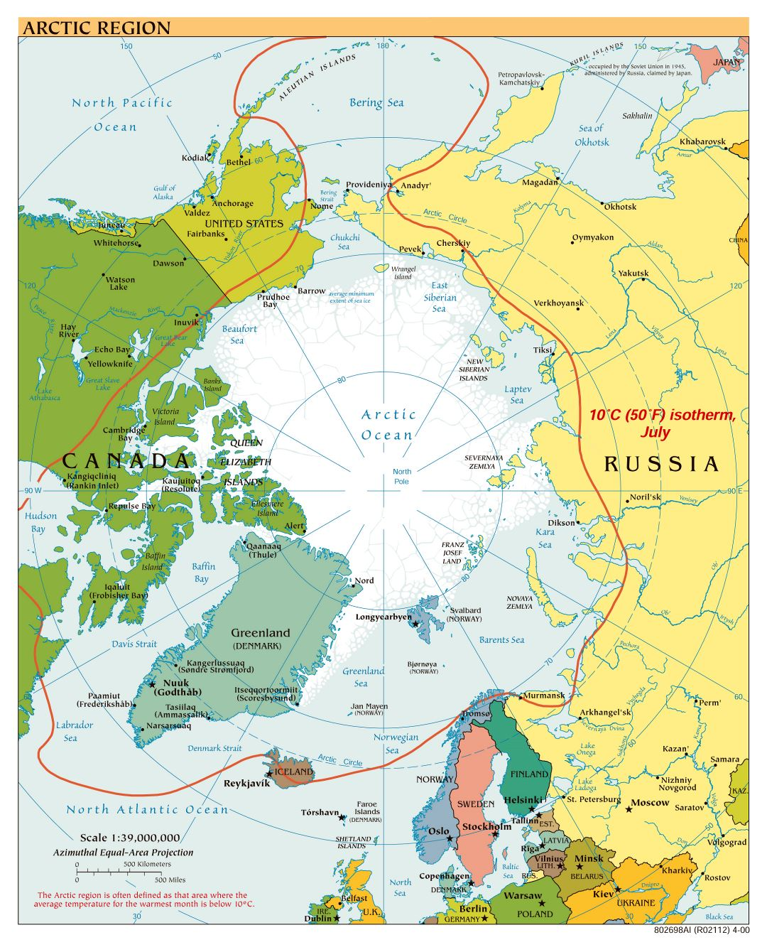 Large scale political map of Arctic Region - 2000