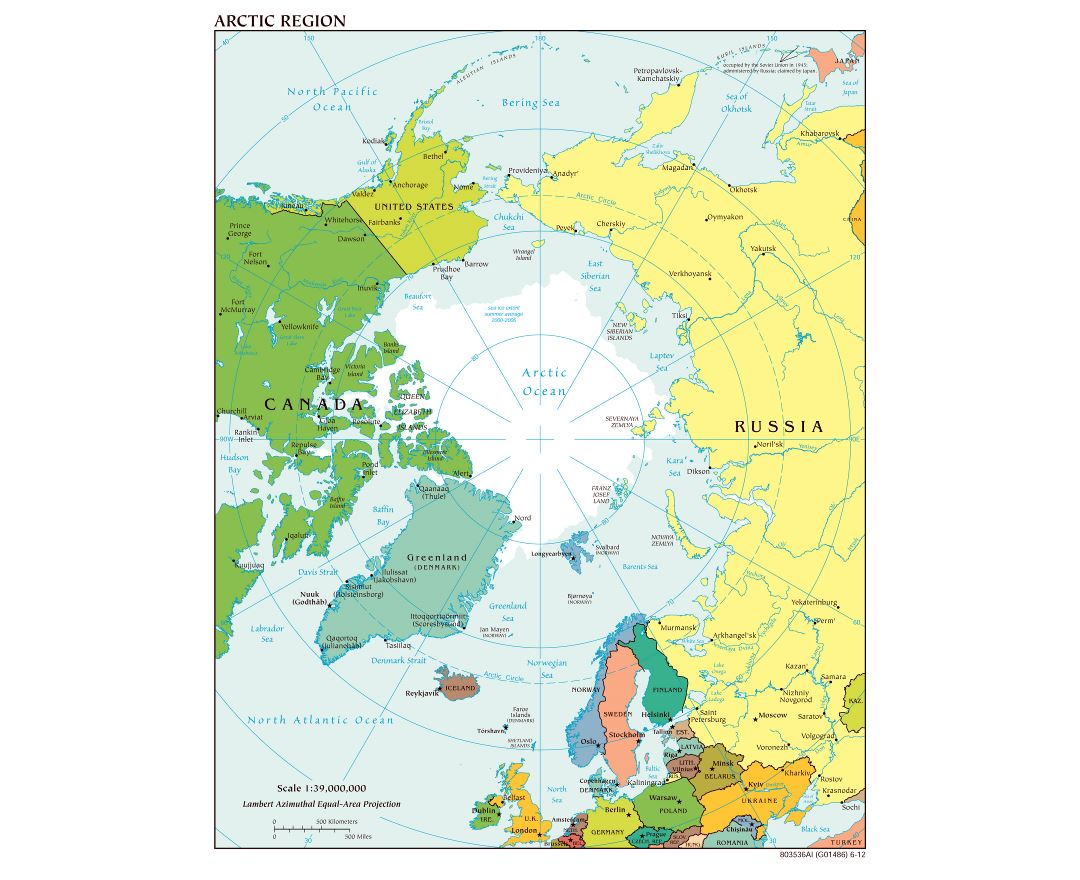 Large scale political map of Arctic Region - 2012