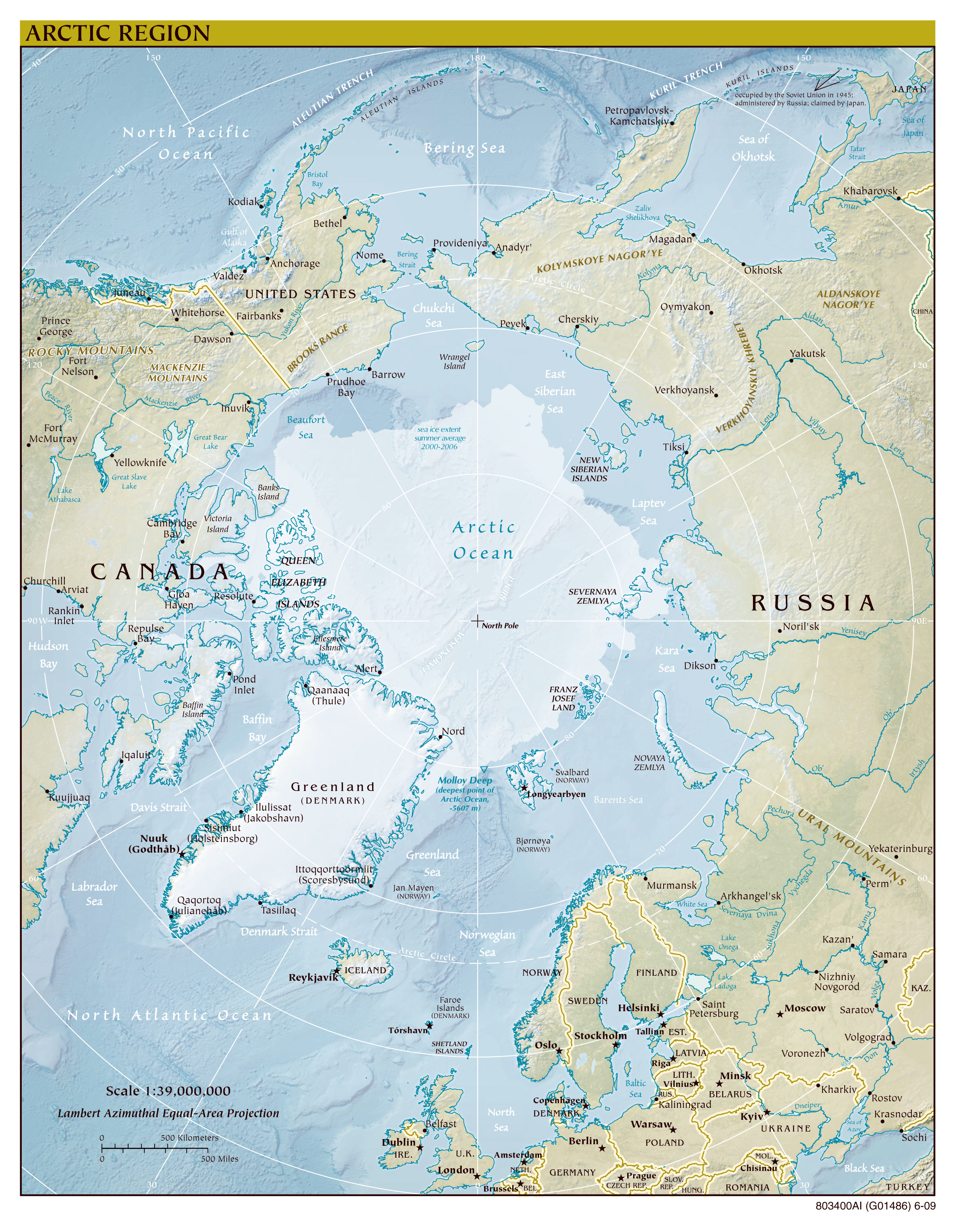 Large scale political map of Arctic Region with relief 2009