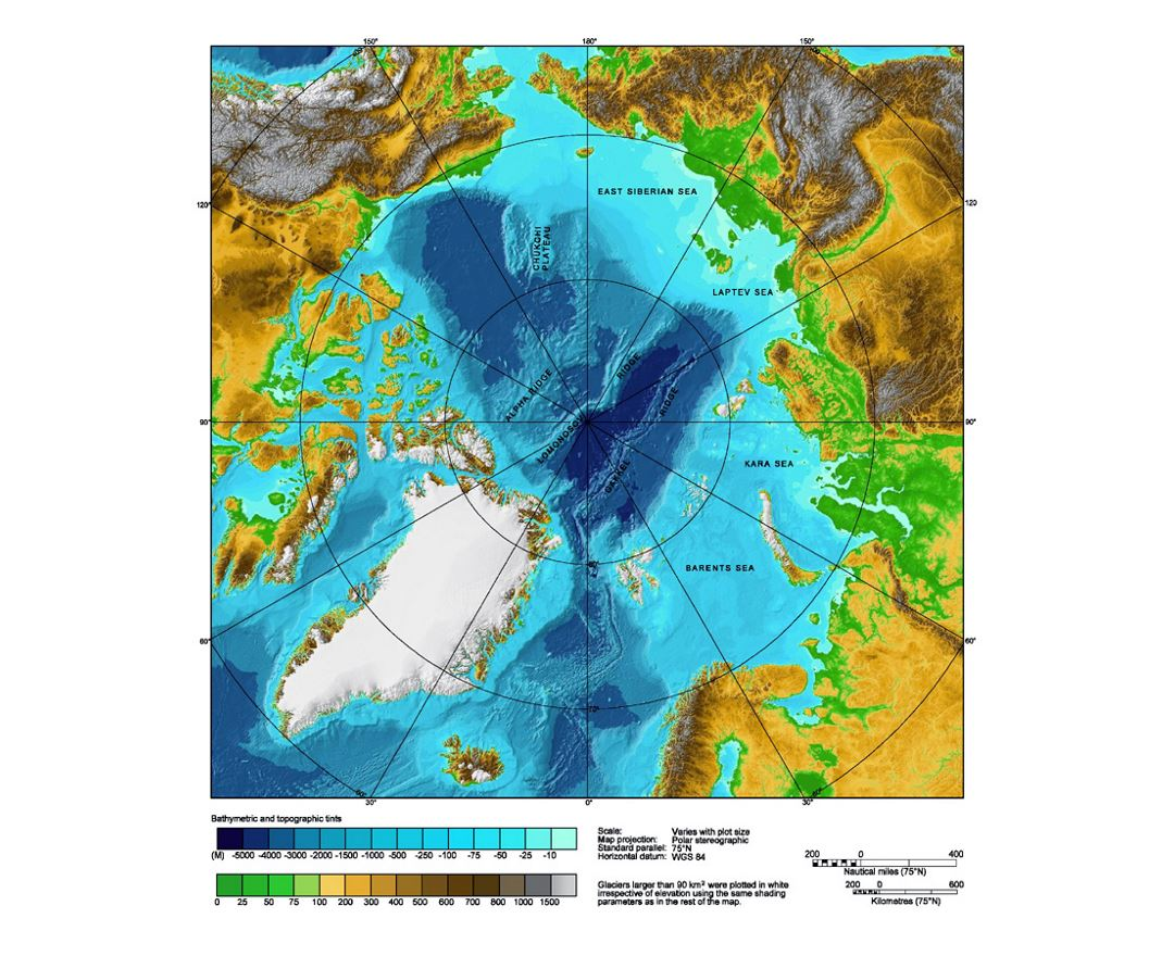 Physical map of Arctic Ocean