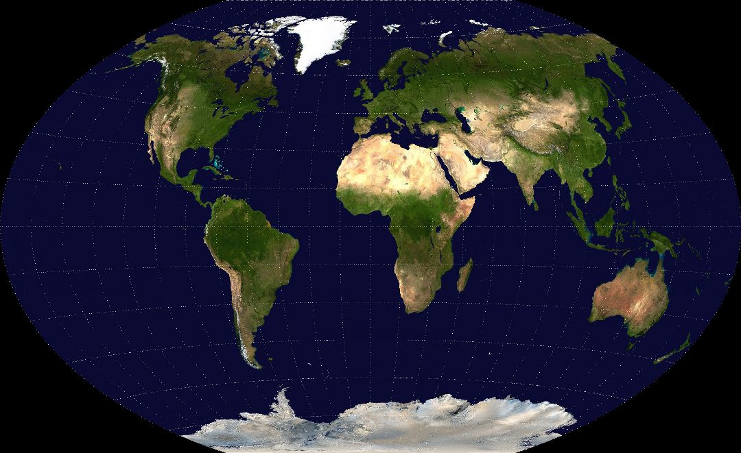 Detailed satellite map of the World