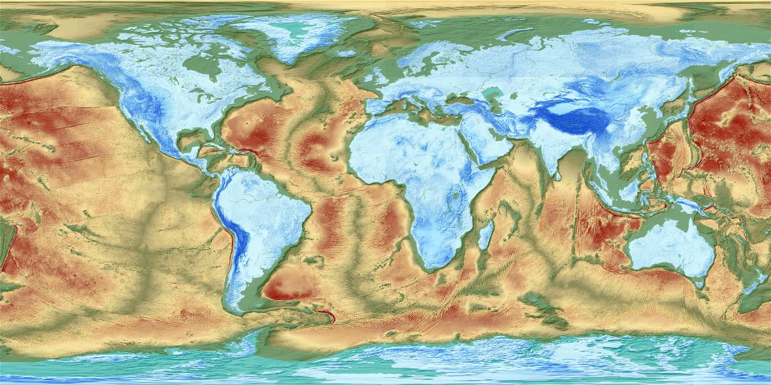 Large detailed map of the Earth's fractured surface