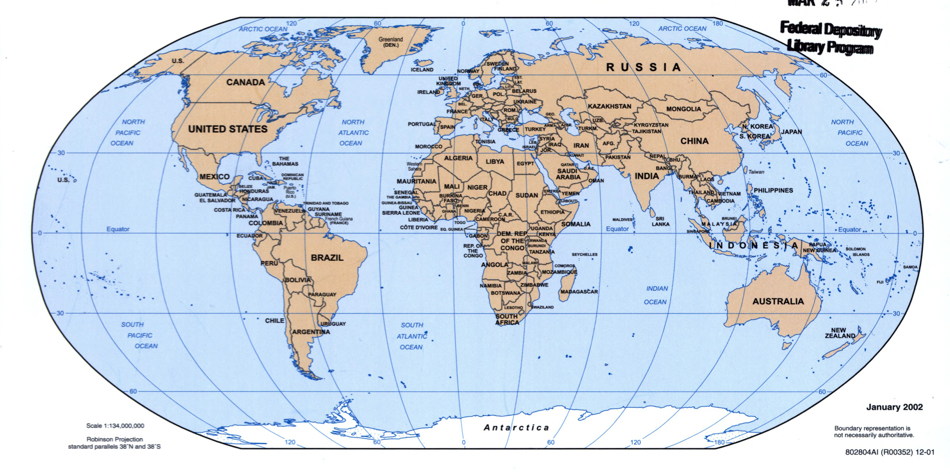 Large detailed political map of the World 2001 World Mapsland