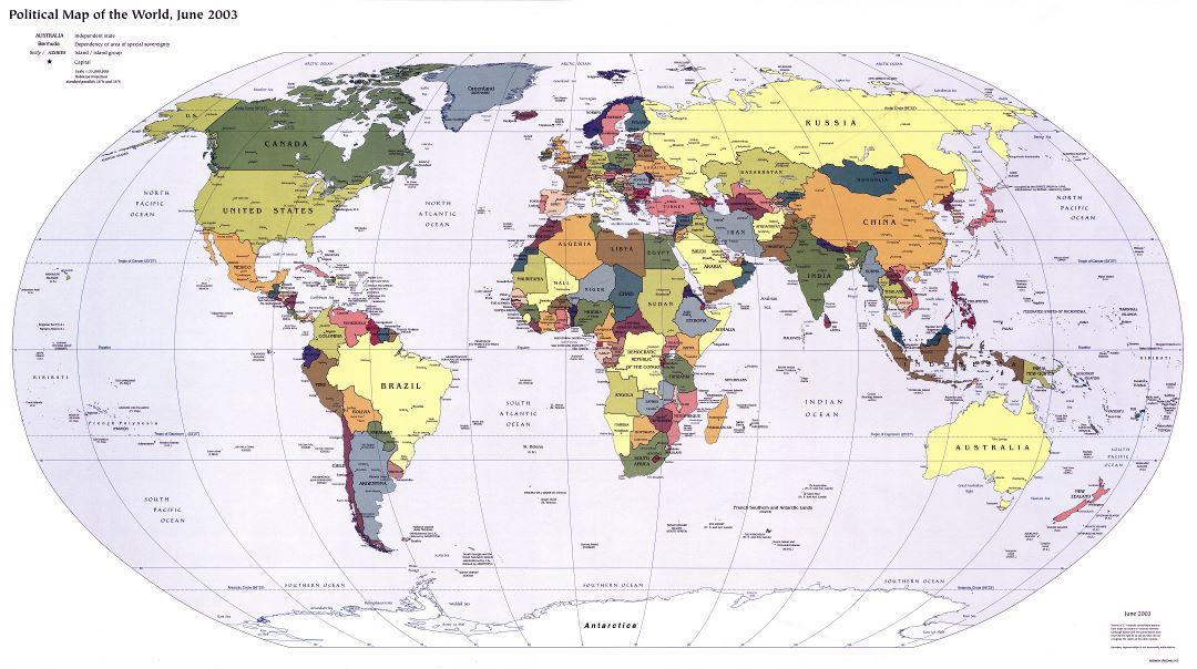 Large detailed political map of the World with capitals - 2003