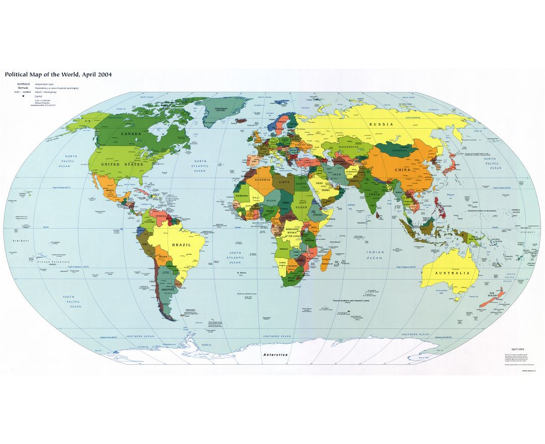 Large detailed political map of the World with capitals and major cities - 2004
