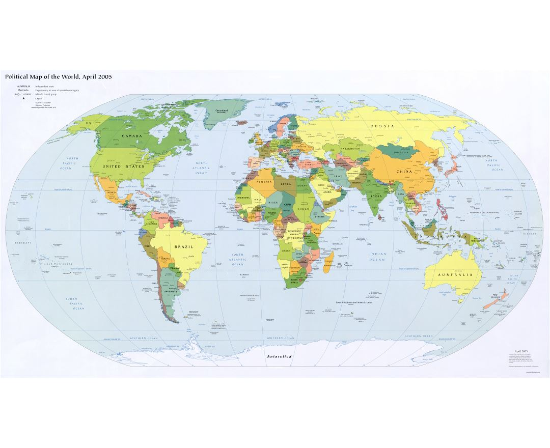 Large detailed political map of the World with capitals and major cities - 2005