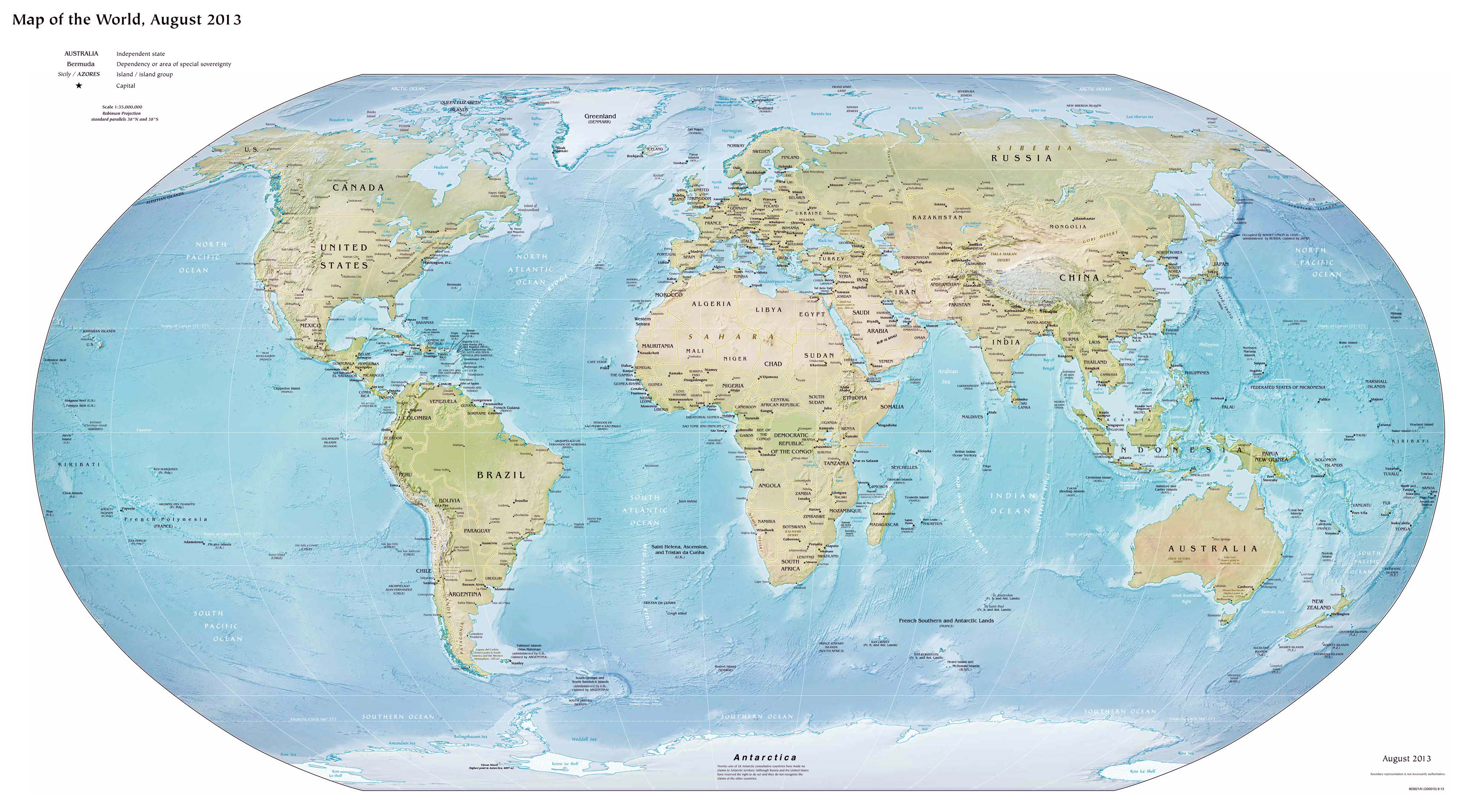 Image of: Large Detailed Political Map Of The World With Relief And Major Cities 2013 World Mapsland Maps Of The World