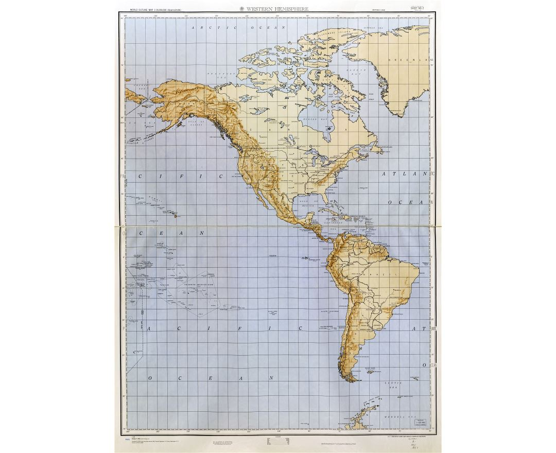Large detailed World outline map with relief - part 1 (Western Hemisphere) 1961-62