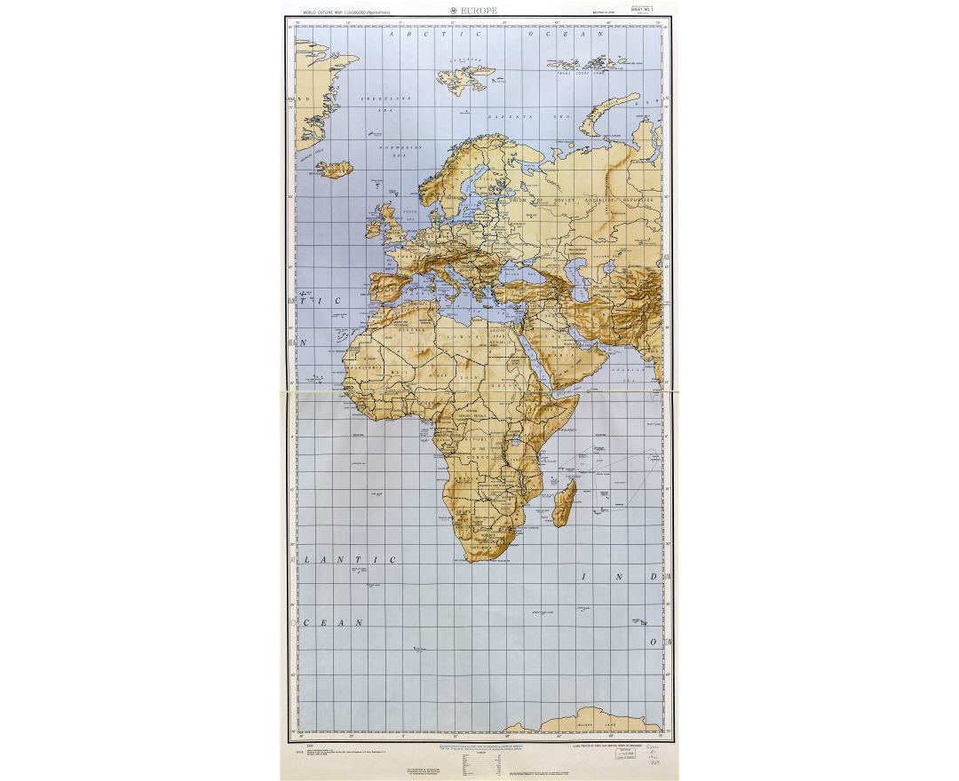 Large detailed World outline map with relief - part 2 (Europe) 1961-62
