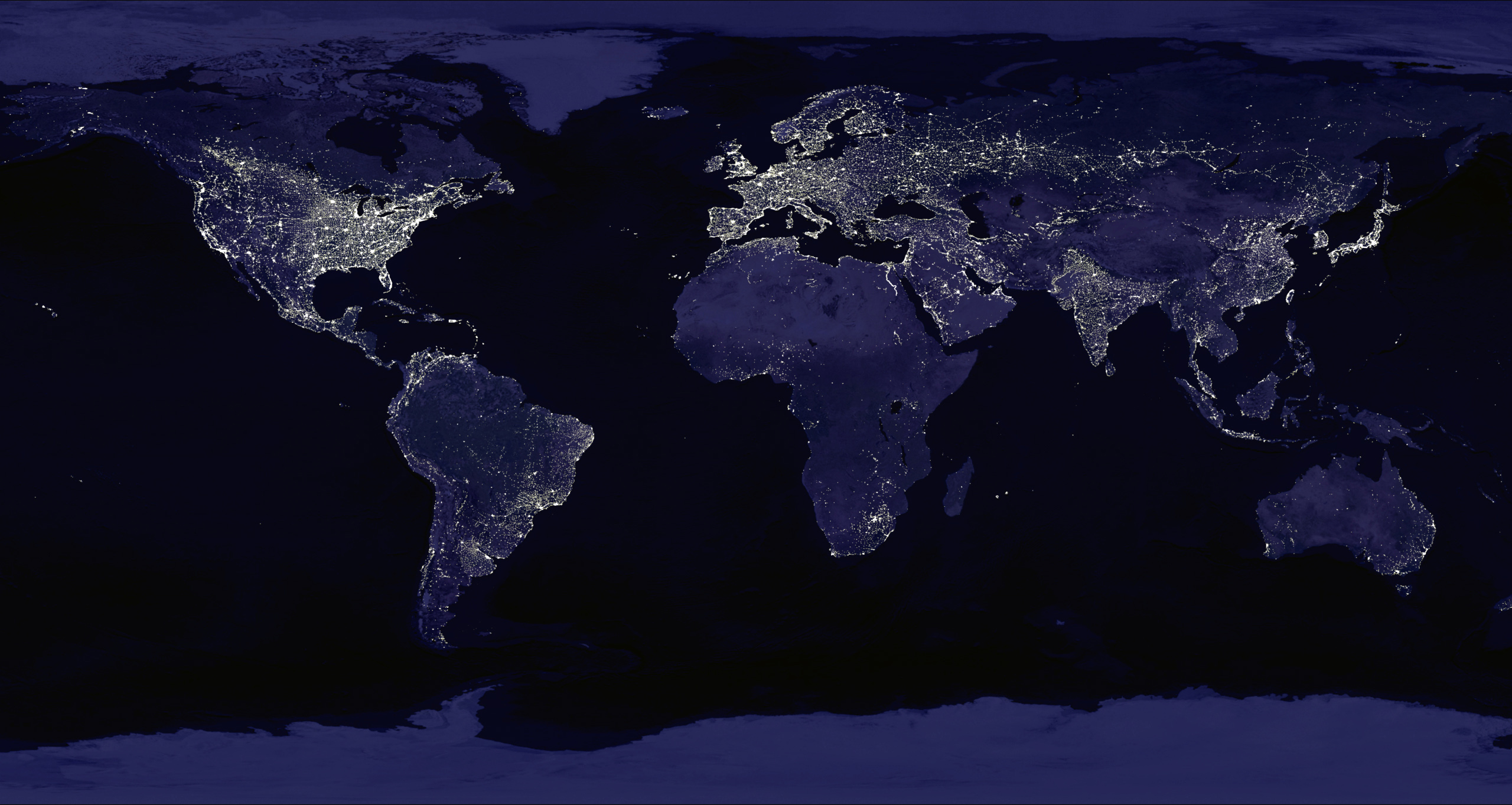 Large Map Of Earth At Night World Mapsland Maps Of The World - Large map of earth