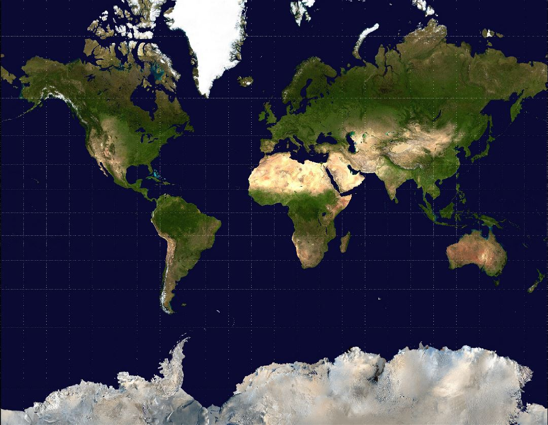 Large satellite map of the World