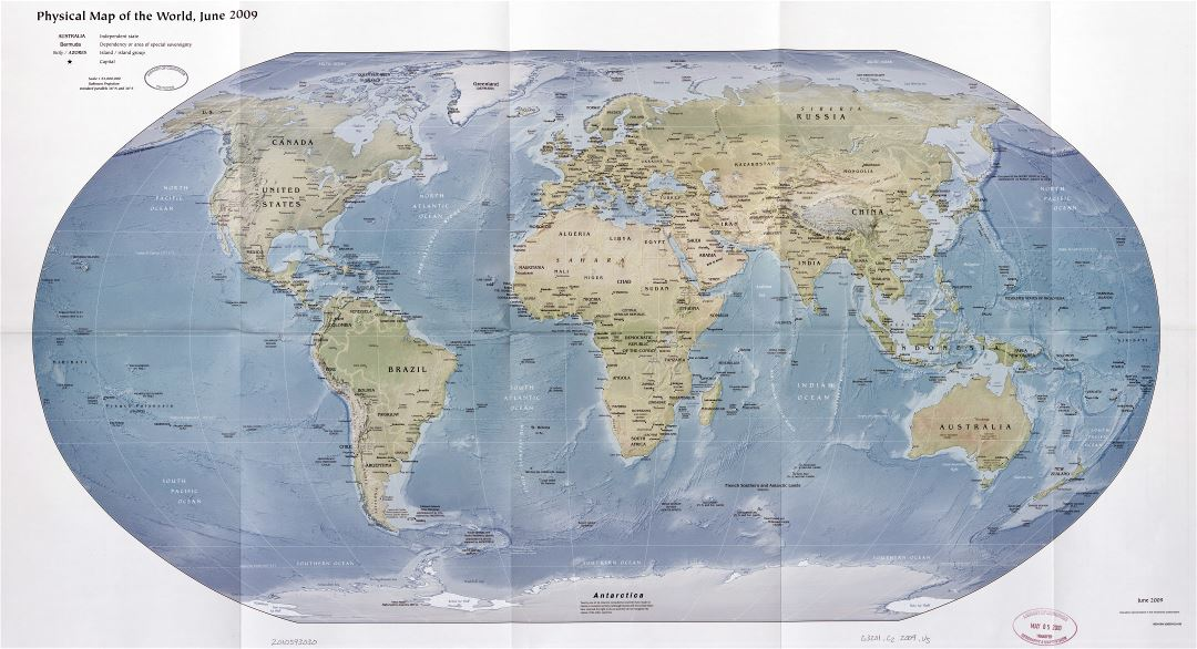 Large scale detailed physical and political map of the World with relief and capitals - 2009