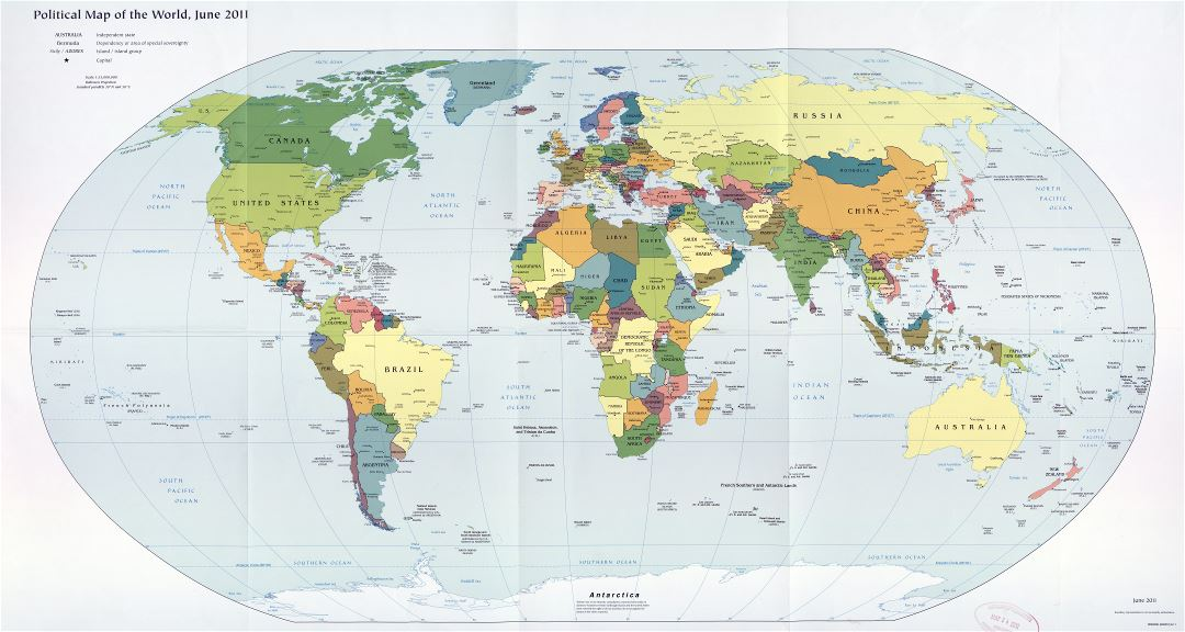 Large scale detailed political map of the World - 2011