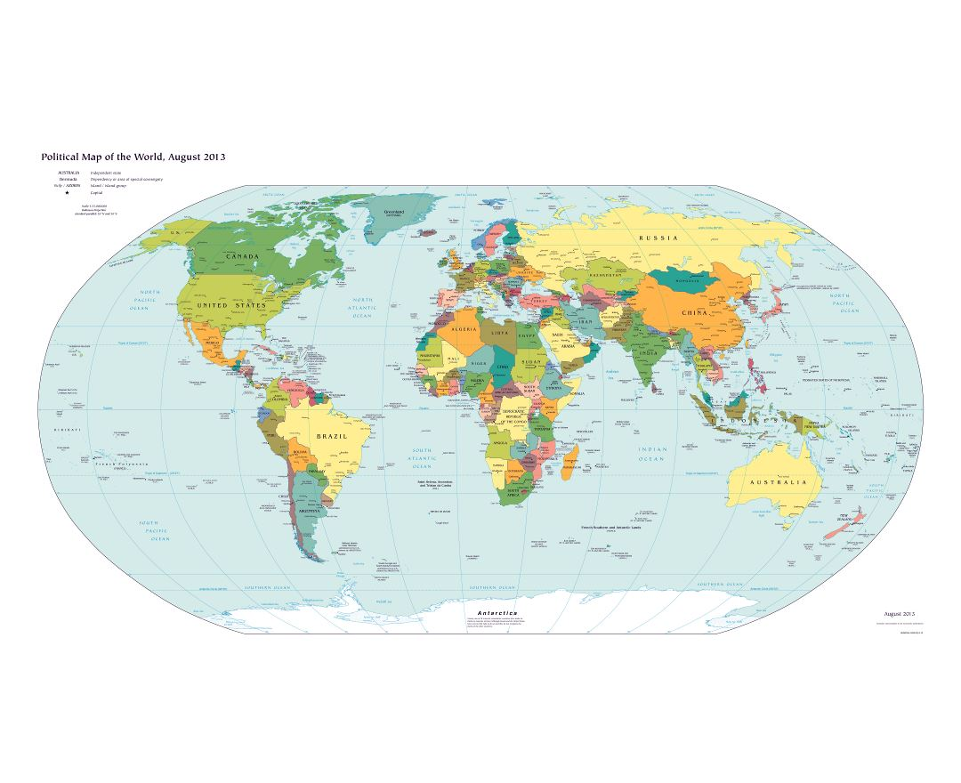 Large scale detailed political map of the World with major cities - 2013