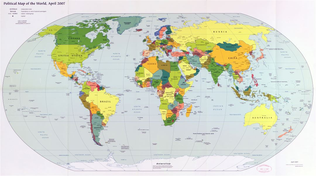 Large scale detailed political map of the World with major cities and capitals - 2007