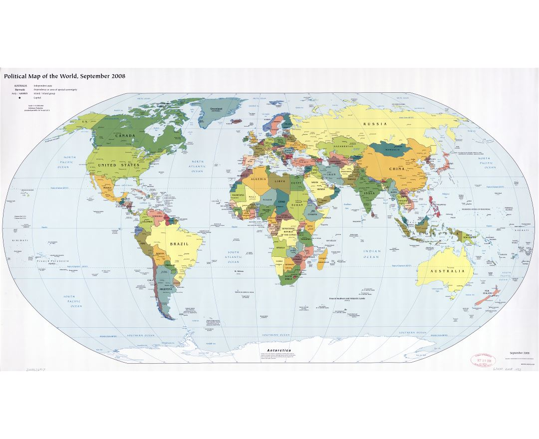Large scale detailed political map of the World with major cities and capitals - 2008