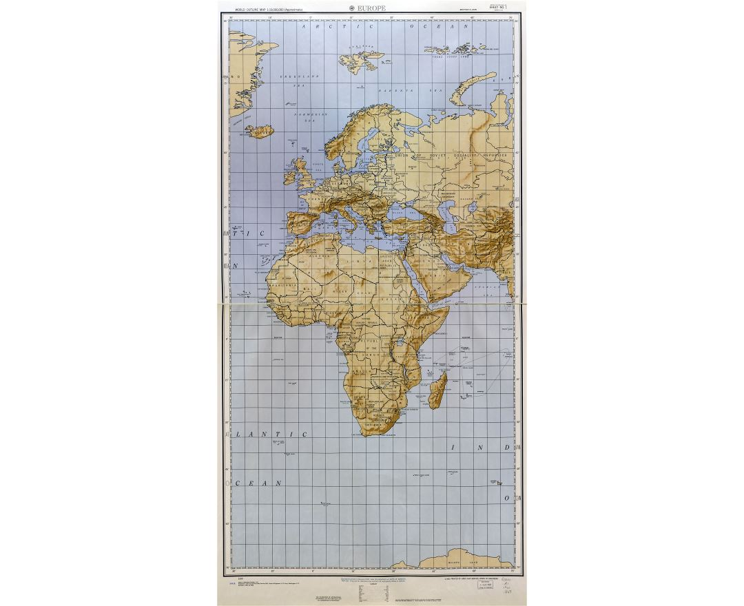 Large scale detailed World outline map with relief - part 2 (Europe) 1961-62