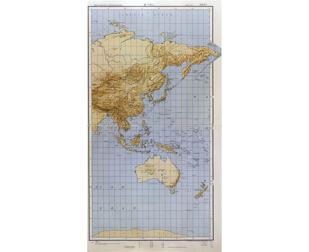 Large scale detailed World outline map with relief - part 3 (Asia) 1961-62