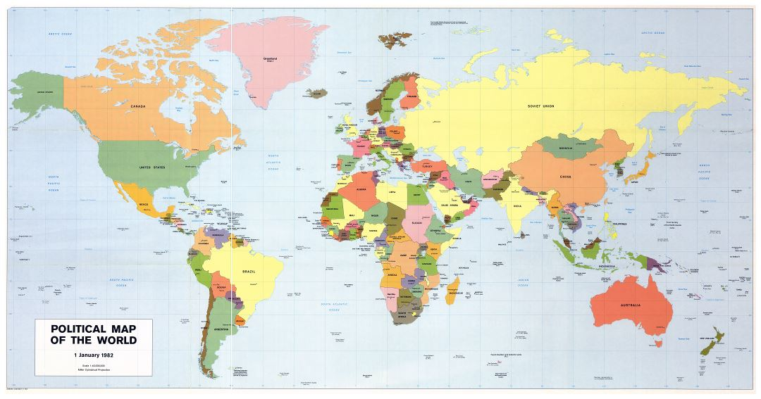 Large scale political map of the World - 1982